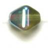 Glass Bead Lanterns 6mm Aurora Borealis Strung Transparent Olivine 1/2 Coat